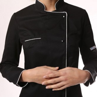 Giacca da cucina nera da donna con bordino argentato zoom