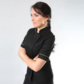 Giacca da cucina da donna con bordini verdi MC profilo