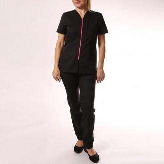Camice medico nero con chiusura lampo rosa anteriore