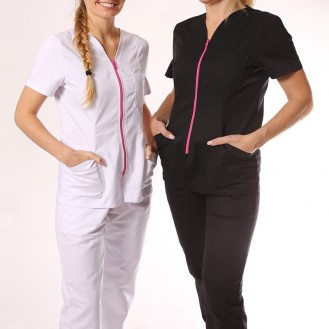 Camice medico nero con chiusura lampo rosa  due