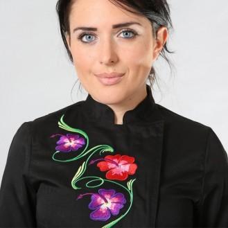 Capo da cucina nero motivo floreale anteriore