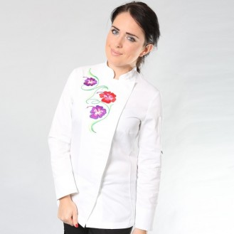 Giacca da cucina da donna bianca con motivo floreale anteriore