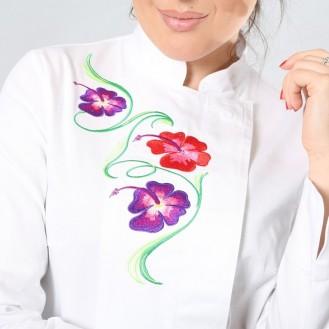 Giacca da cucina da donna bianca con motivo floreale zoom
