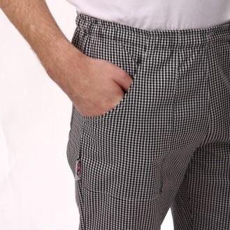 Pantaloni da cucina a quadretti neri profilo