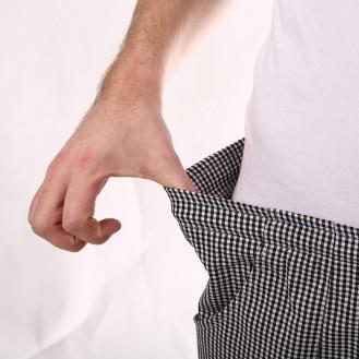 Pantaloni da cucina a quadretti neri zoom