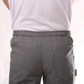 Pantaloni da cucina a quadretti neri indietro