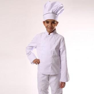 Giacca da cuoco per bambino bianca anteriore