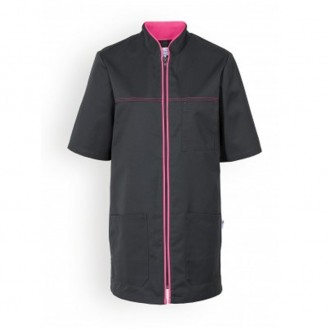 Casacca medica mista nera con bordini - Clinic Dress rosa