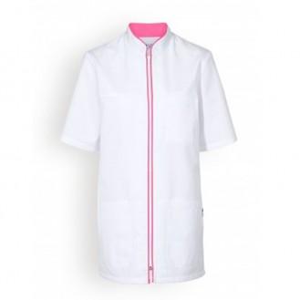 Casacca medica bianca a bordini - Clinic Dress rosa
