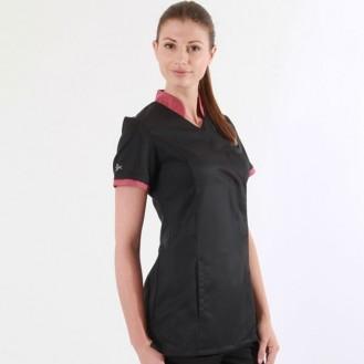 Camice sciancrato clemix 2LIN nero e rosa ribes profilo