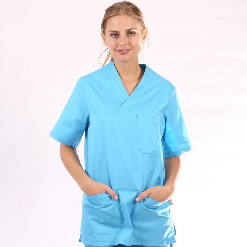 Tunique médicale turquoise col V manelli mixte