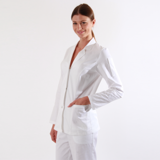 Casacca medica bianca in 100% cotone profilo
