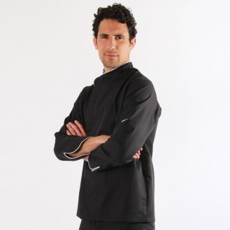 Giacca da cucina nera con bordino bianco - ML profilo