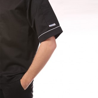 Giacca da cucina nera con bordino bianco - MC profilo