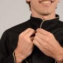 Veste de Cuisine Noire Liseré Beige, boutons asymétriques