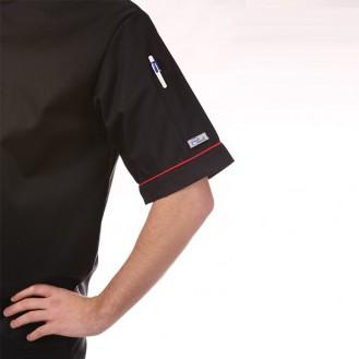 Giacca da cuoco nera con bordi rossi - Mc o ML profilo