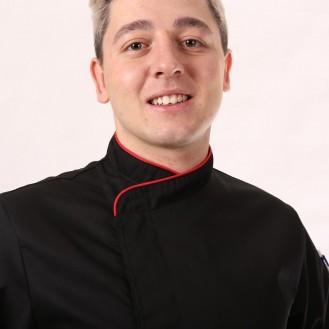 Giacca da cuoco nera con bordi rossi - Mc o ML zoom