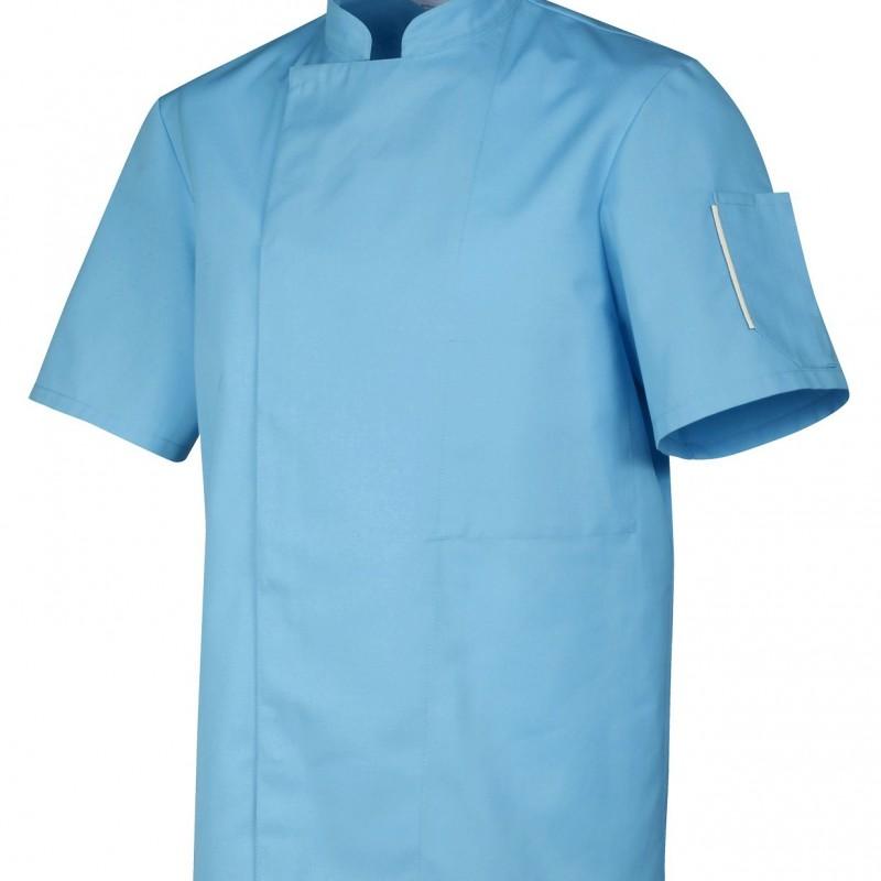 Veste de cuisine grise bleue ciel - Robur, boutons pression cachés