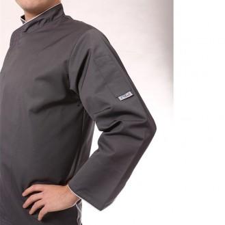 Giacca da cucina bianca con bordino grigio chiaro profilo