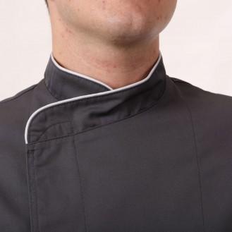 Giacca da cucina bianca con bordino grigio chiaro zoom