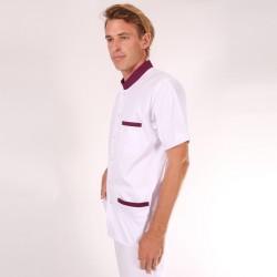 Blouse médicale homme col bordeaux - Claudio manches courtes promo pas cher confort