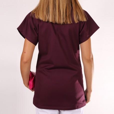 Blouse médicale femme Bordeaux Julie manches courtes promotions pas cher confortables