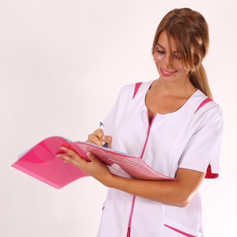 Blouse médicale femme Blanche/ Rose Johana manche courte promotion pas cher