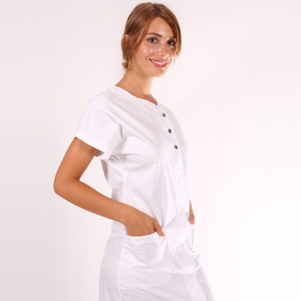 blouse de travail femme valia blanche. Black Bedroom Furniture Sets. Home Design Ideas