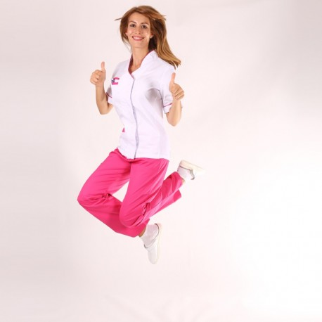 Casacca medicale donna Sandra bianca e rosa