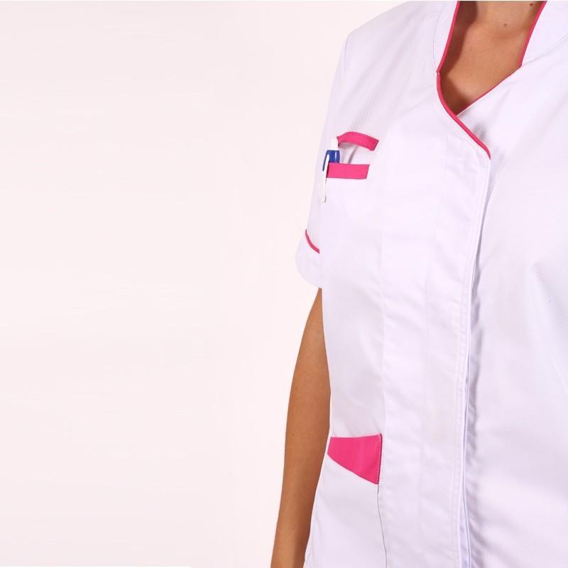 Blouse médicale femme Blanche/Rose Sandra manche courte promo confort pas cher