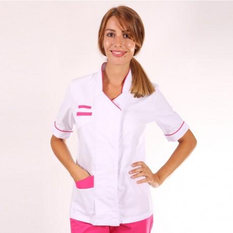 Blouse médicale femme Blanche/Rose Sandra manches courtes promotions confortables pas cher