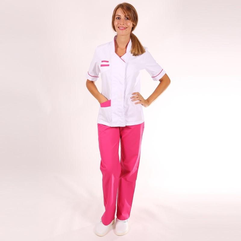 Blouse médicale femme Blanche/Rose Sandra manche courte promotion confortable pas cher