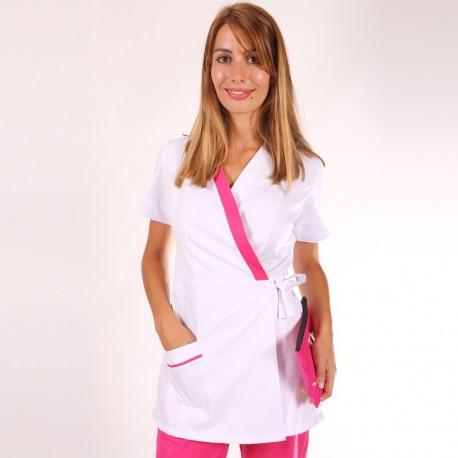 Kimono estetista Ines bianco con inserti rosa