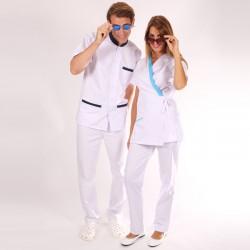 Blouse de travail cache-cœur blanche et bleue Inès