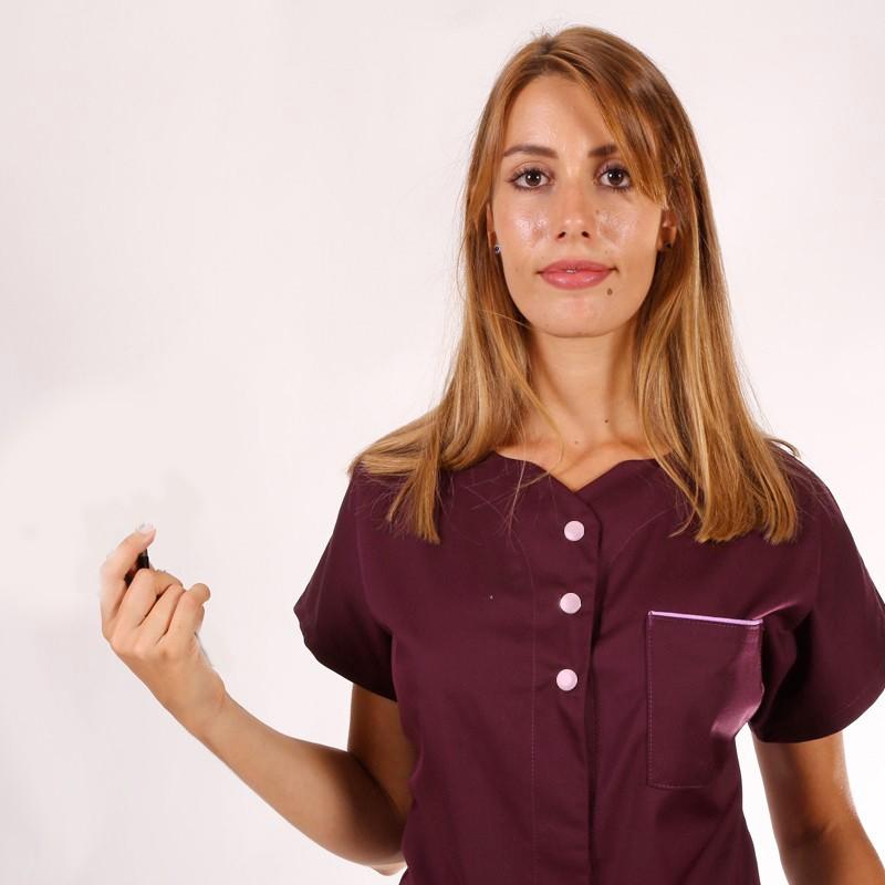 Blouse médicale femme Prune Julie manches courtes promo pas cher confort