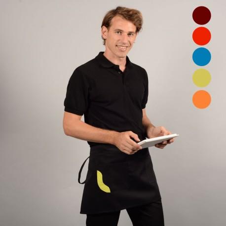 Tablier court bicolore noir poche couleur