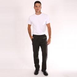 Pantalon de Cuisine Noir fines rayures marrons