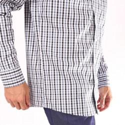Chemise de serveur à carreaux blanc/gris/noir