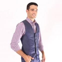 Chemise de serveur à carreaux bleu/rouge/blanc