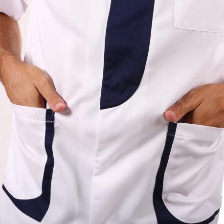 Blouse Medicale Homme Blanc & Bleu Marine