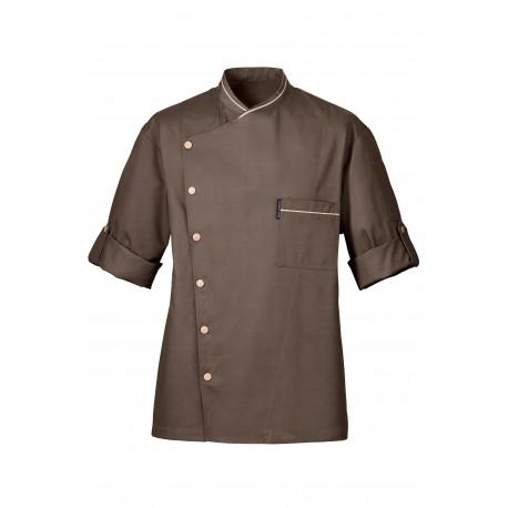 Veste de cuisine bragard chicago Taupe, bouton asymétrique, veste prestique, excellente qualité de tissu