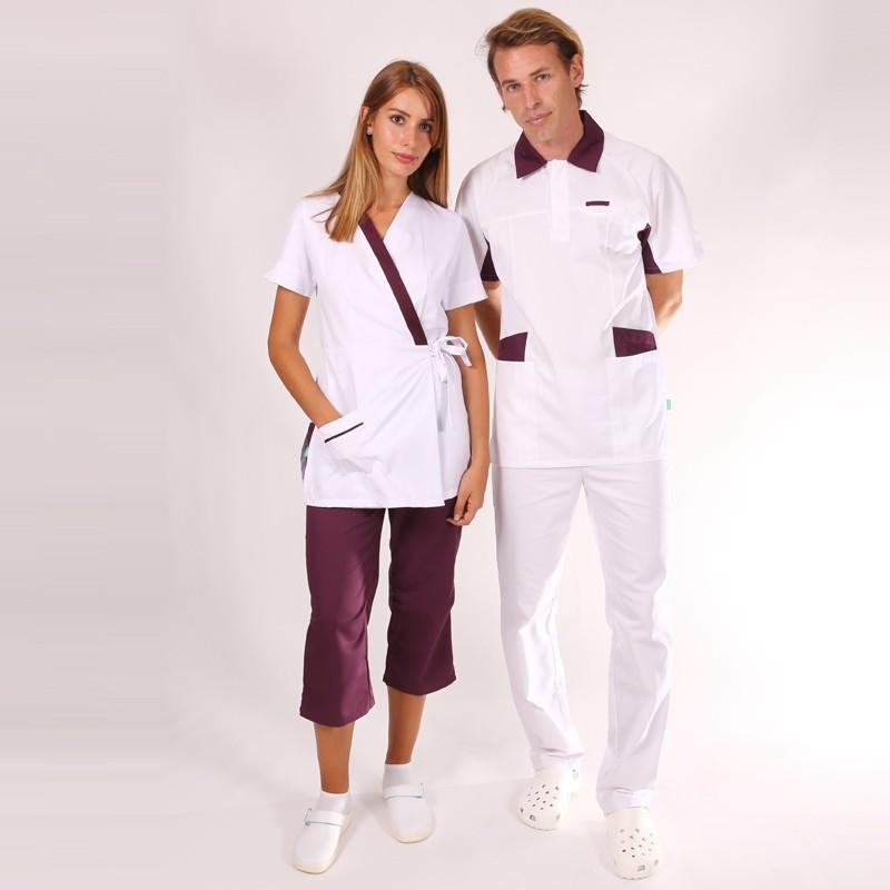 Tunique médicale homme blanche et prune 2LUC