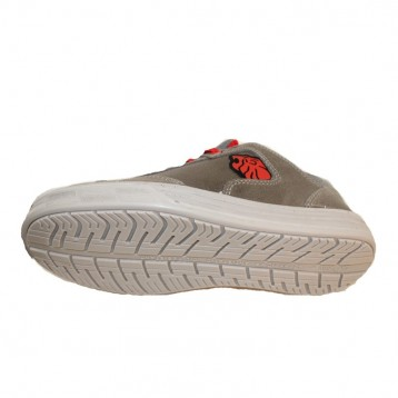 Basket de sécurité S3 grise et rouge cuir. Semelle upower antistatique, antiperforation et antidérapante.