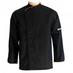 Veste de cuisine noire liseré orange grande taille - ML ou MC