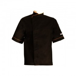Veste de cuisine noire liseré orange grande taille -  MC