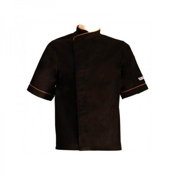 veste de cuisine noire liser orange grande taille mc - Veste De Cuisine Orange