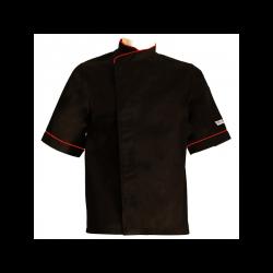 Veste de cuisine noire liseré rouge grande taille - MC