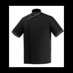 Veste de cuisine noire grande taille liseré blanc MC
