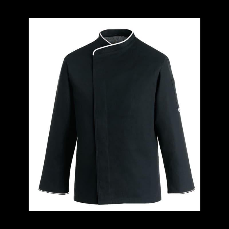 Veste de cuisine noire grande taille liseré blanc ML
