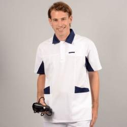 Tunique médicale homme blanche et bleu 2LUC